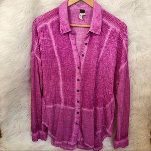FREE PEOPLE Purple Collared Blouse